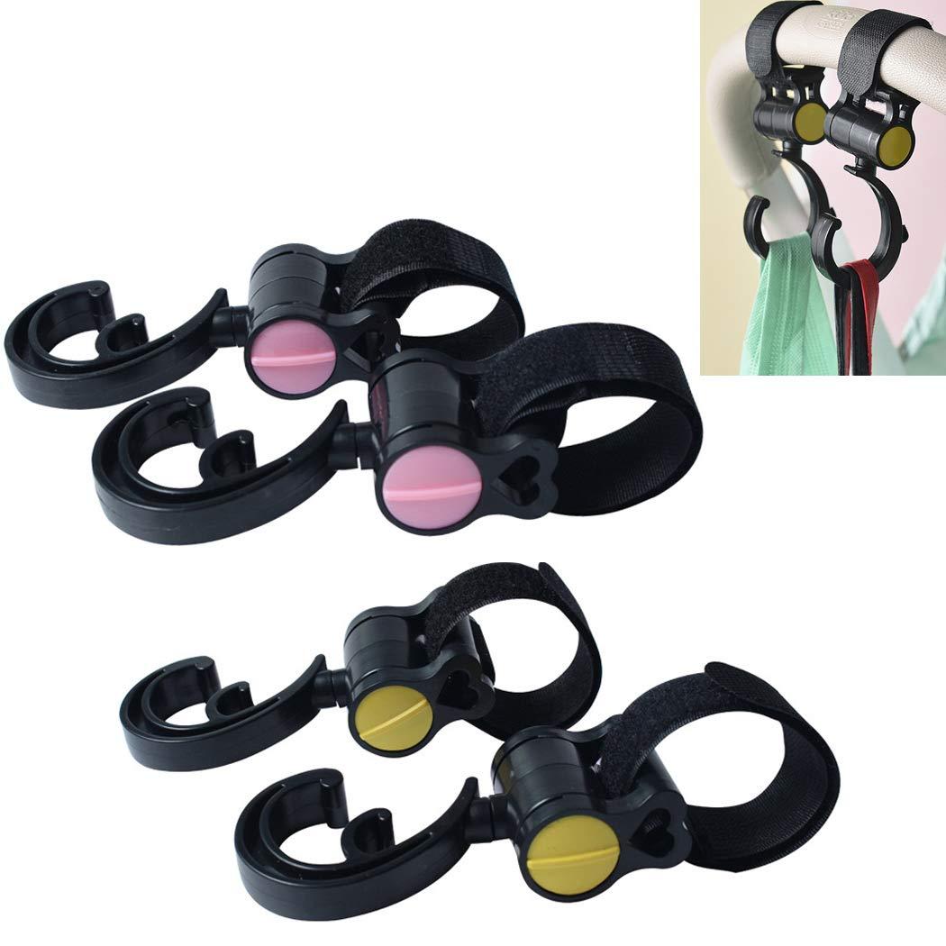 SIPLIV 4 Pack Stroller Hooks Multipurpose Stroller Clips Hooks Hanger Diaper Bags Hook for Baby Stroller for Grocery Bag Shopping Bags