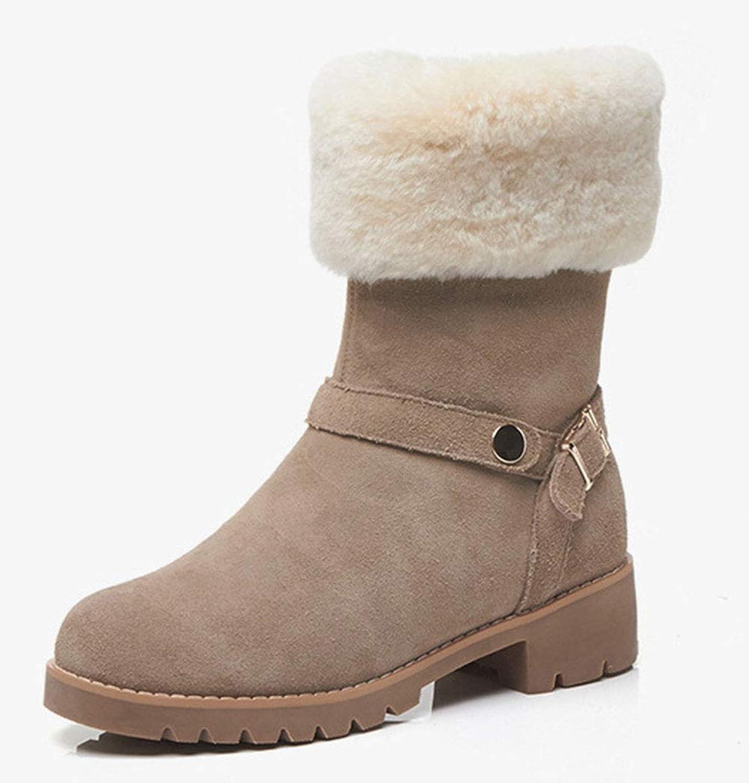 Women's Winter Snow Boots Matte Leather Round Head Crude Heel mid Heel Short Boots Side Zipper Belt Buckle Warm Fashion Boots