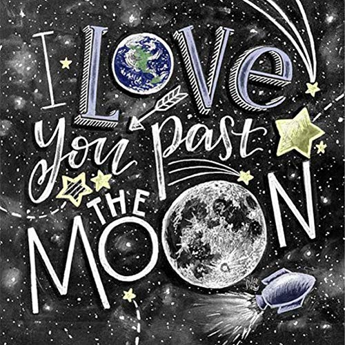 5D DIY Diamond Painting Kits Full Round Drill Diamond Painting Wall Decor Rhinestone Embroidery Chalk Drawing Moon 11.8x11.8 in By Greatmin