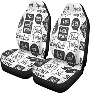 Semtomn Set of 2 Car Seat Covers Doodle Sale Lettering Frames Bubbles Retail Universal Auto Front Seats Protector Fits for Car,SUV Sedan,Truck