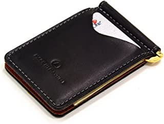 Slim Leather money clip wallet. Madison wallet made in USA by Made In Mayhem. (Jet Black)