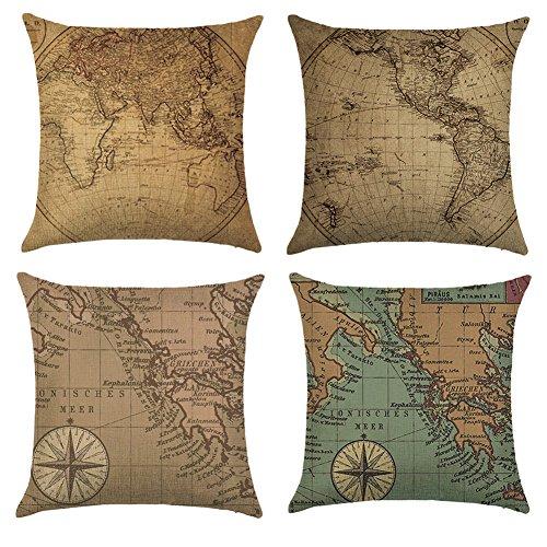 Aipark 4 pcs 45 x 45 cm Fundas de Almohadas Decorativas Fundas de Cojín Mapa del Mundo Camas Chambres Sillas Sofás