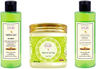 Khadi Mauri Herbal Neem Kit (Shampoo + Face Wash + Pack) - Pack of 3