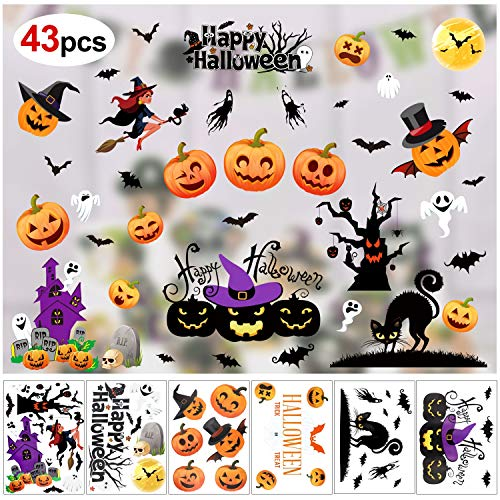 Howaf 43pcs Halloween Fenster Aufkleber Fledermaus Katze Hexe Geister Kürbis Wandaufkleber Fenster Sticker für Halloween Party Dekorationen Horrible Halloween deko