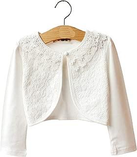 Little Girls' Knit Long Sleeve Lace One Button Closure Bolero Shrug Air Conditioning shirtr Jacket cardigan2-9T