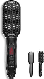 Cepillo alisador de cabello iónico 2 en 1,Peine Electrico Barba e 30 minutos Cierre Automático,Cepillo Alisador de Pelo Cerámico con Tecnología Iónica y Pantalla LCD