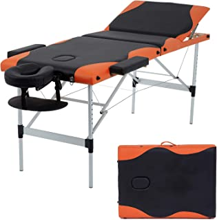 Massage Table Massage Bed Spa Bed 84 Inch Height Adjustable 3 Fold Aluminium Massage Table W/ Face Cradle Carry Case Portable Facial Salon Tattoo Bed