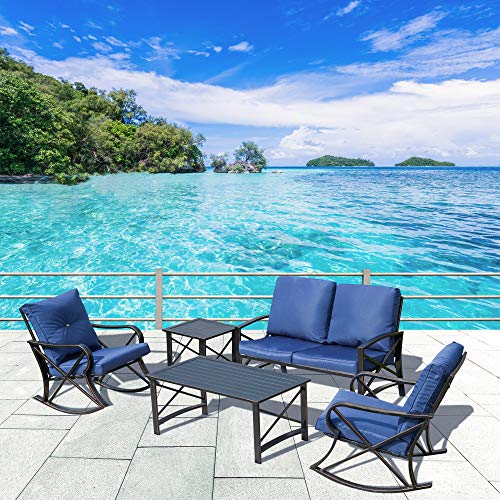 LOKATSE HOME 5 Pieces Patio Conversation Set Outdoor Metal Furniture Padded Deep Seating with Loveseat, 2 Rocking Chairs and 2 Coffee Table, Blue