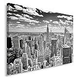 Feeby Frames, Cuadro en lienzo, Cuadro impresión, Cuadro decoración, Canvas 80x120 cm, NUEVA YORK PANORAME, BLANCO Y NEGRO