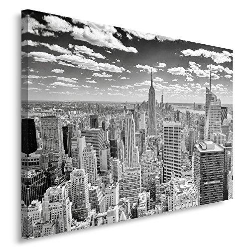 Feeby Frames, Quadro Pannelli, Pannello Singolo, Quadro su Tela, Stampa Artistica, Canvas 80x120 cm, New York PANORAMICA, Bianco E Nero