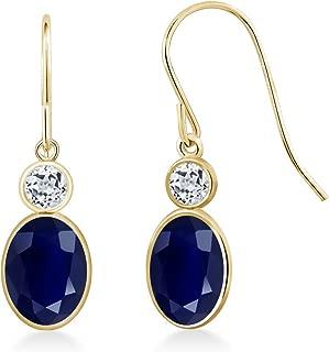 Gem Stone King 2.32 Ct Oval Blue Sapphire White Topaz 14K Yellow Gold Earrings
