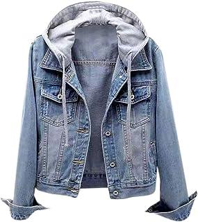 Women Denim Hoodies Coat, Ladies Solid Long Sleeve Button Pocket Jacket Outwear