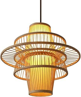 WFBP Bambú lámpara de ratán Hecha A Mano De Jardín Creativo ...