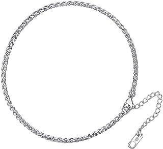 Cavigliere braccialetto per piede in acciaio inox gioielli 09wheat 3mm regalo per San Valentino compleanno
