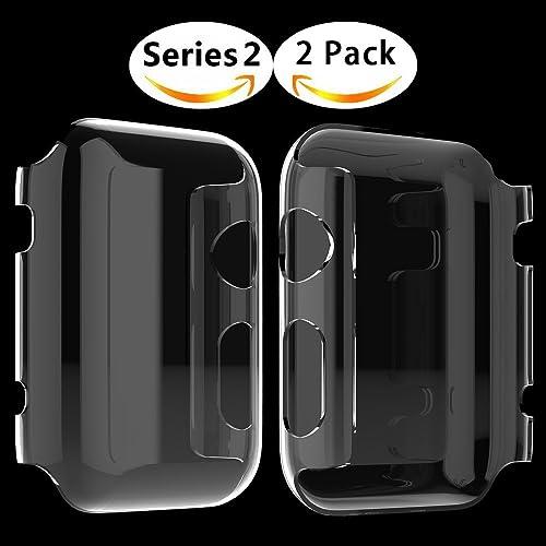 Coque Apple Watch Series 2, Misxi Protection écran iWatch [Couverture Complète] Protection film PC 0.3mm Ultra Mince Case Pour 2016 i Watch 2 (Série 2 42mm)-2Pack