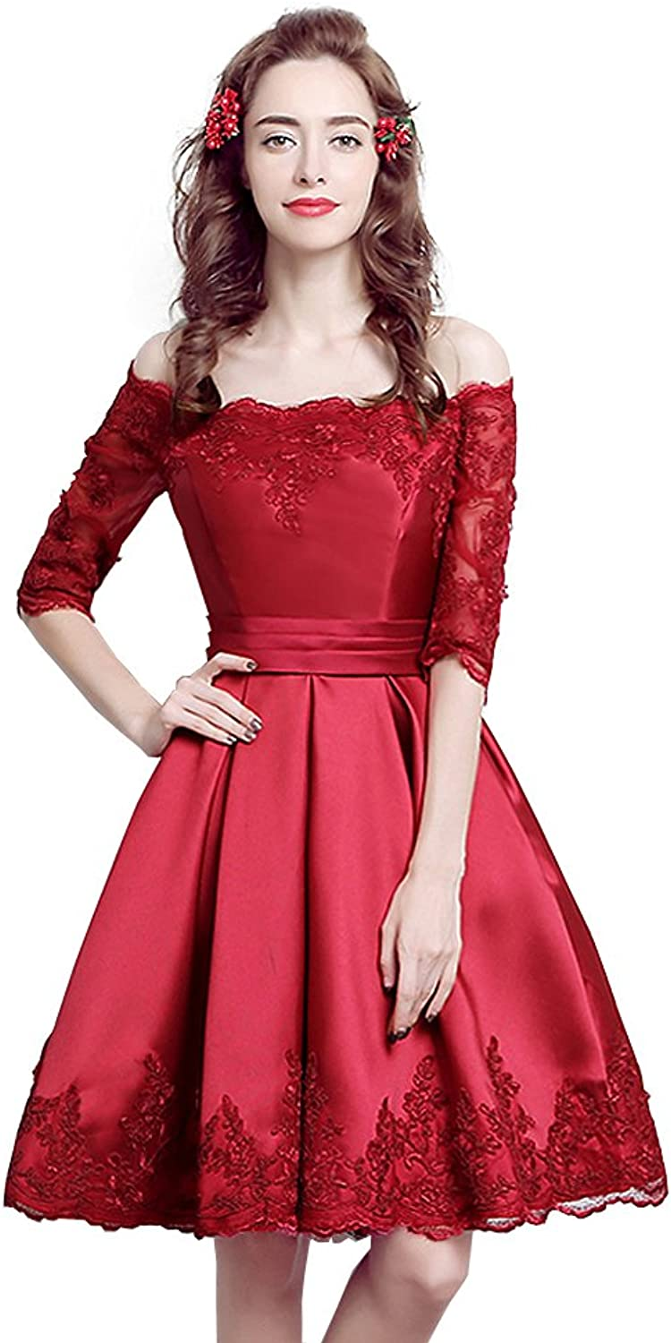 Mypuffgirl Wine Red Off The Shoulder 3 4 Sleeve Cocktail Party Dress Lace Appliques