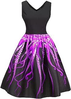 V Neck Sleeveless Knee-Length Dress for Women Ugly Octopus Tentacle Print A-Line Vintage Dress