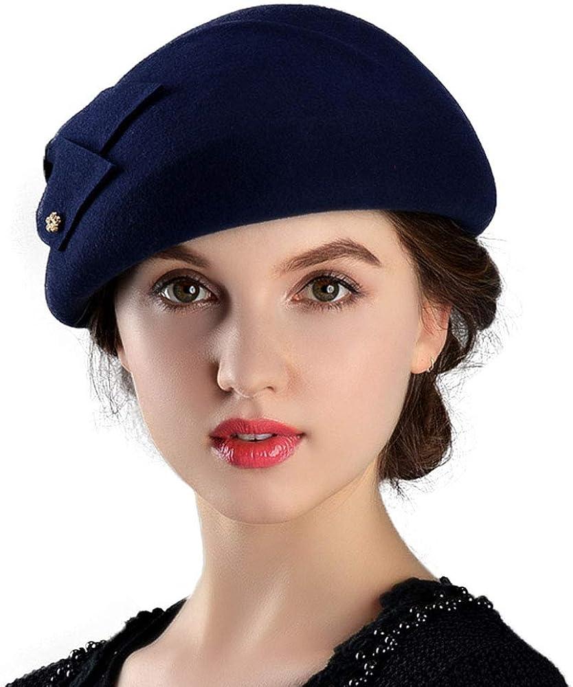 F FADVES Womens Wool Felt French Berets Bowler Hat Artist Boina Bowknot Cap