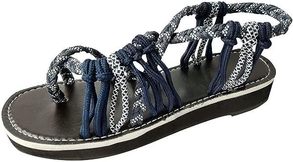 ZOMUSAR Sandals Slippers Women Summer Fashion Rome Bandage Sandals Peep Toe Casual Flat Beach Sandals