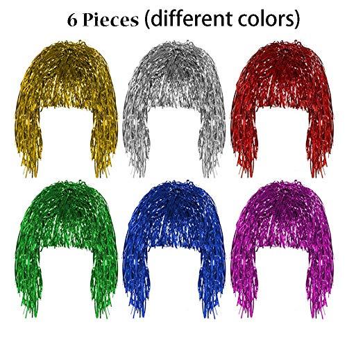 Pelucas Metal Brillante para Mujer Set de Pelucas Brillante Brillante Pelucas Multicolor para Mujeres Adecuado para Halloween Navideña y Despedida de Soltero (Oro, Plata, Verde, Rosa, Rojo y Azul)