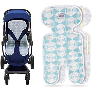 Baby Breathable 3-Dimensional Air Mesh Organic Cotton Seat Pad Liner for Stroller /& Car Seat Bambi Blue