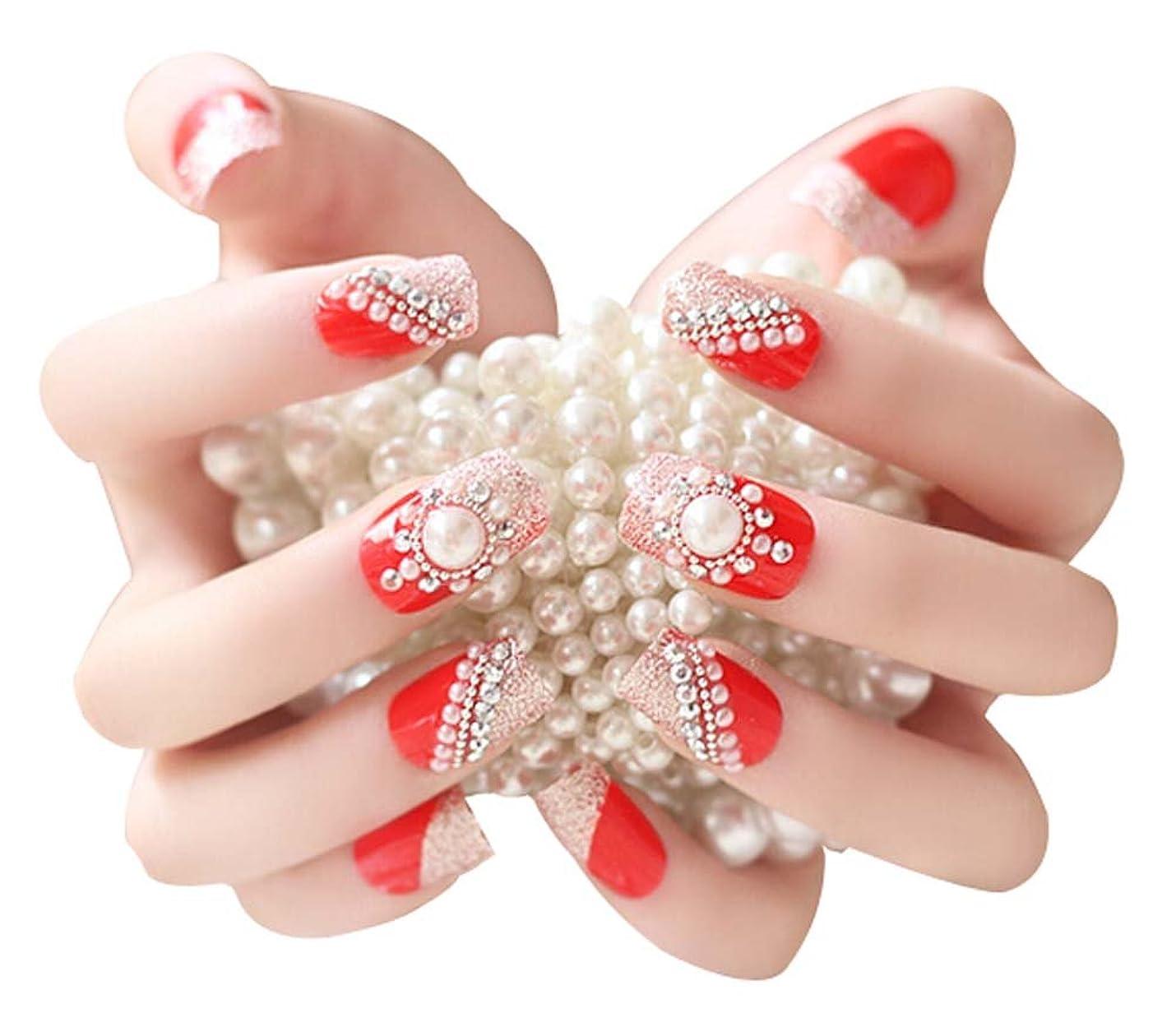 堀ケーブルカージェム人工真珠ラインストーンつけ爪結婚式のメイクアップネイルアート、赤、2パック - 48枚