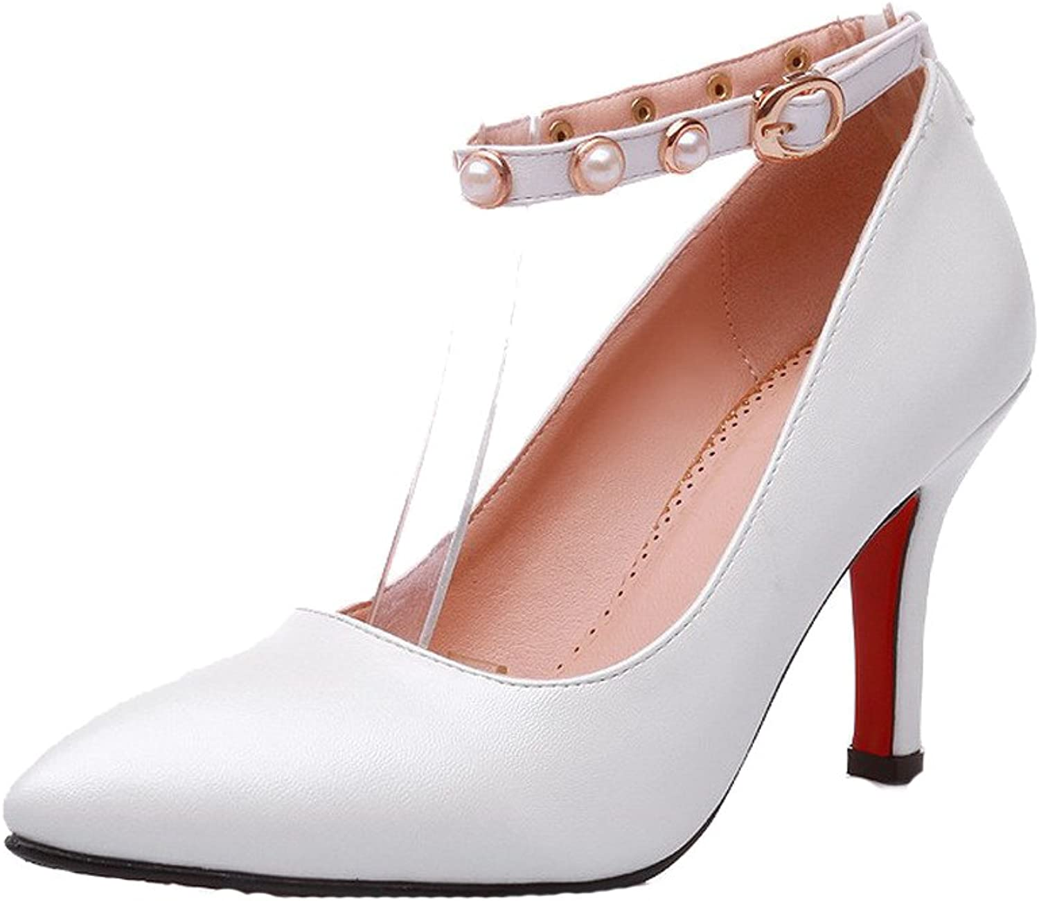 AllhqFashion Women's High-Heels Soft Material Solid Buckle Pointed Closed Toe Pumps-shoes