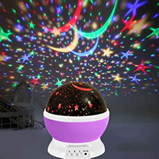 Veilleuse projecteur d'étoiles pour enfants – 360 ° rotatives pour bébé avec effet d'éclairage réglable pour décoration de...