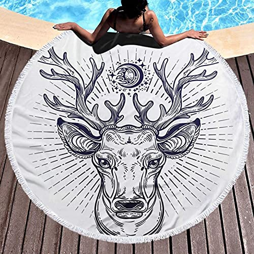 Round Beach Throw Tapestry Hippy Tablecloth Beach Towel,Hipster Reindeer Head Sketch Beautiful Antlers Illustration, Round Yoga Mat Beach Round Shawl