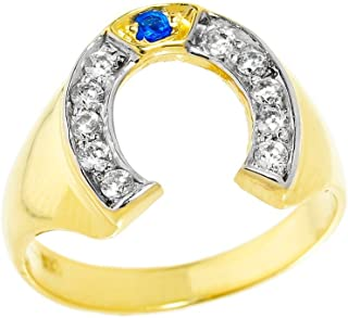 Men's 10k Yellow Gold Blue Sapphire and White Diamond Lucky Horseshoe Ring
