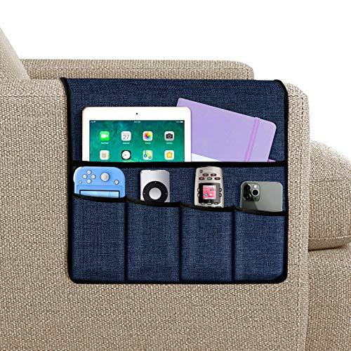 Joywell Sofa-Armlehnen-Organizer, 5 Taschen, Fernbedienungshalter auf Couch und Stuhlarm für TV-Fernbedienung, Zeitschriften, Bücher, Handy, iPad, Marineblau