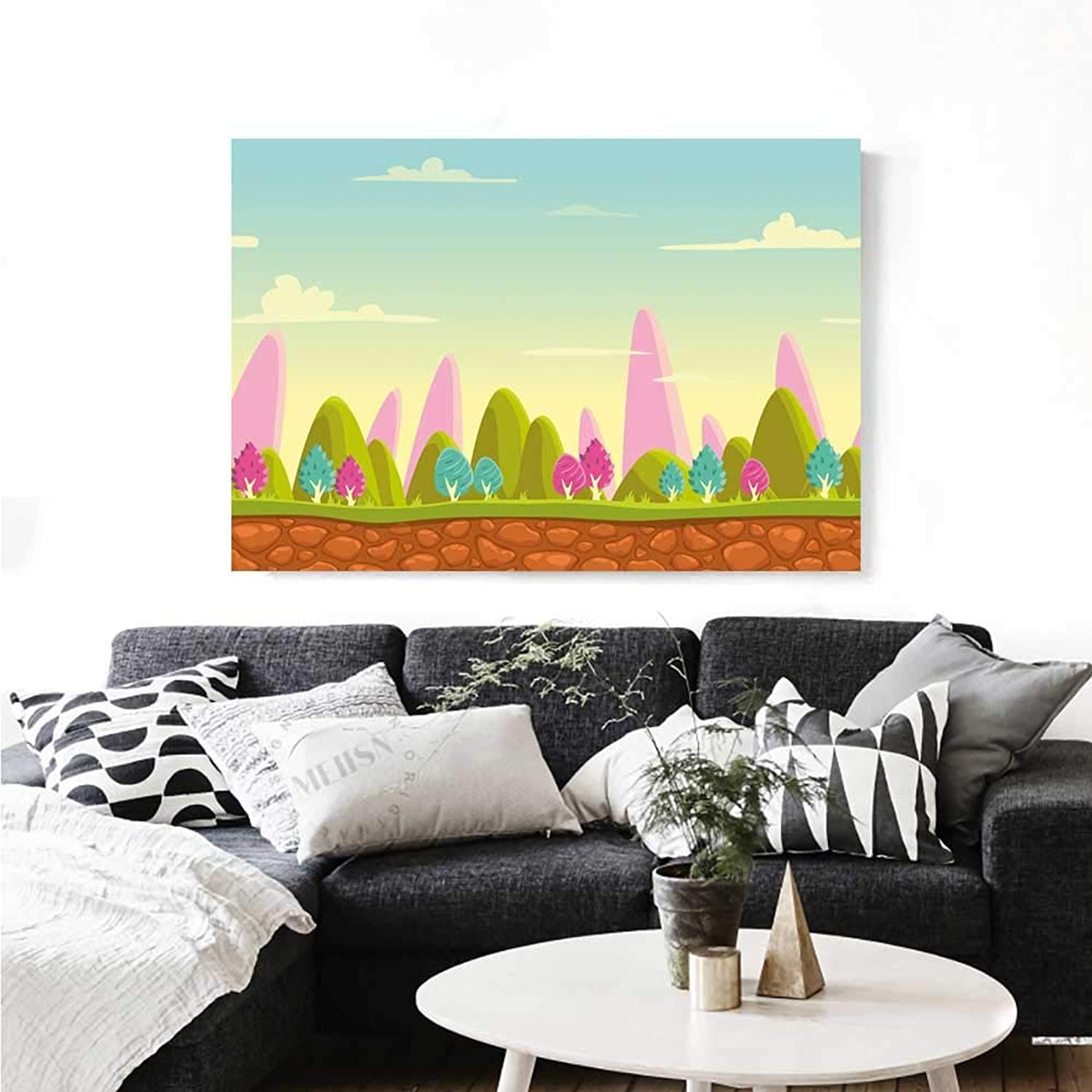 Forest Canvas Wall Art Fantasy Cartoon Landscape for Kids and Toddlers colorful Trees Country Panorama Print Paintings for Home Wall Office Decor 36 x32  Multicolor