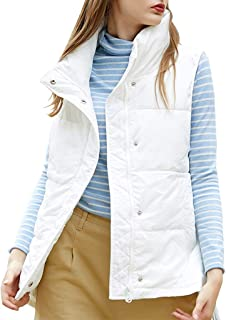 Women's Casual Vest, Stand Collar Sleeveless Zipper Gilet with Pockets, Autumn and Winter Down Cotton Jacket (Color : White, Size : S)