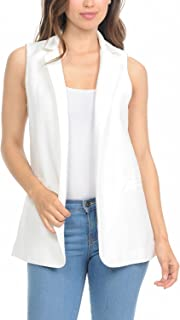 Auliné Collection Womens Work Casual Open Front Notched Lapel Collar Blazer Vest