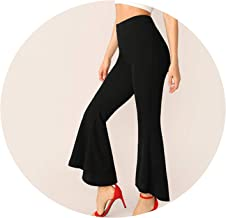 Solid Flare Leg Pants Elegant Mid Waist Spring Autumn Black Crop Pants Fabulous Zipper