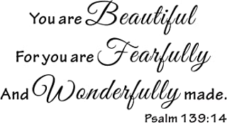 Everysticker4u You are Beautiful for You are Fearfully and Wonderfully Made Bible Verse Scripture Art Vinyl Saying Quote Sticker Wall Decals Words Lettering (Size1: 23