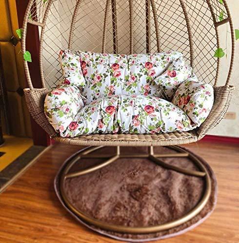 N /A Chaise en rotin, coussin de hamac, coussin en osier, balançoire, coussins en forme de nidi, coussin suspendu hamac double place lavable amovible Jaune 110 x 150 cm, b, 110x150cm
