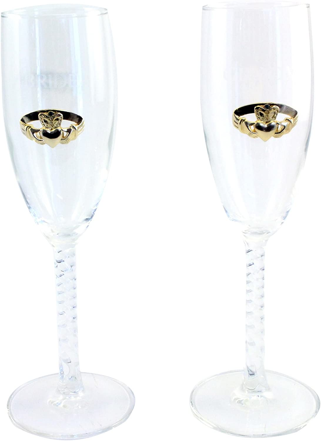 Bride and Groom Claddagh Champagne Glas Flute