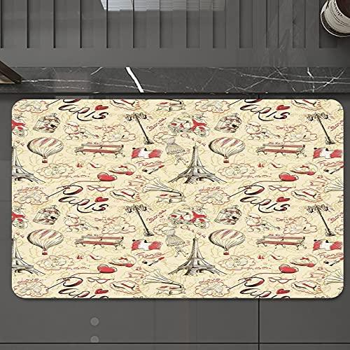 Alfombrilla de Baño Antideslizantes de 50X80 cm,Paris Decor, Doodle temático de la cultura f, Tapete para el Piso Lavable a Máquina con Microfibras Suaves Absorbentes de Agua para Bañera, Ducha y Baño