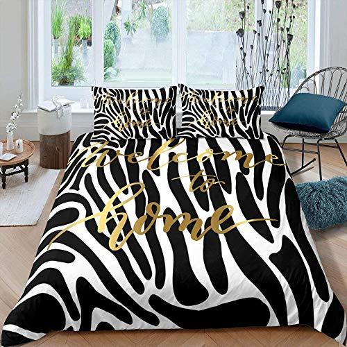 Dvvseso Duvet Cover Set, 3D Printed Abstract zebra pattern black white stripes Kids Teen Boys Bedding Set, 1 Quilt Cover + 2 Pillowcases(No Comforter Inside) King size 240 x 220 cm -Girls' bedding