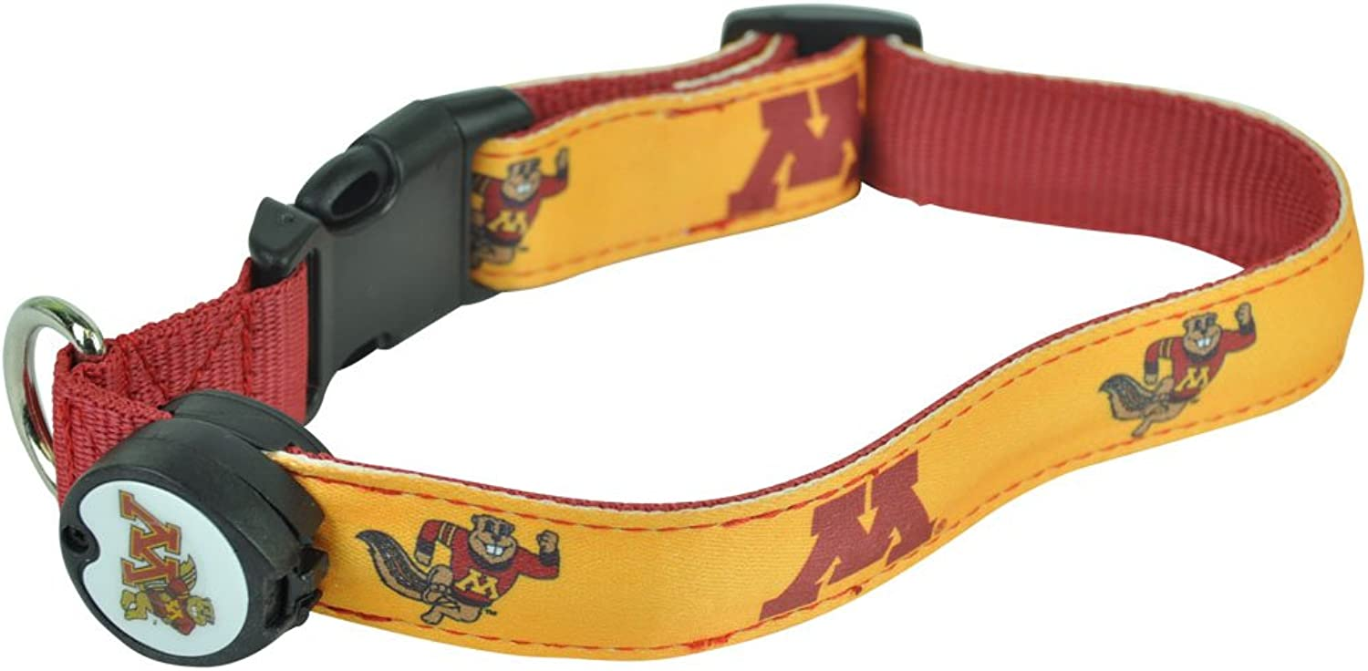 DogEGlow Minesotta Gophers Lighted LED Dog Collar, Large, 15Inch by 21Inch