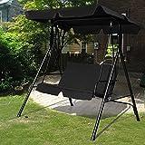 COSTWAY Hollywoodschaukel Gartenschaukel Schaukel Gartenliege Schaukelbank Gartenbank mit Sonnendach 2-Sitzer (schwarz) - 3