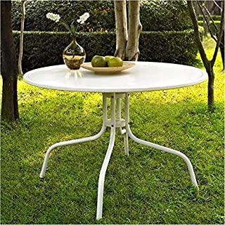 BOWERY HILL Round Metal Dining Table in White