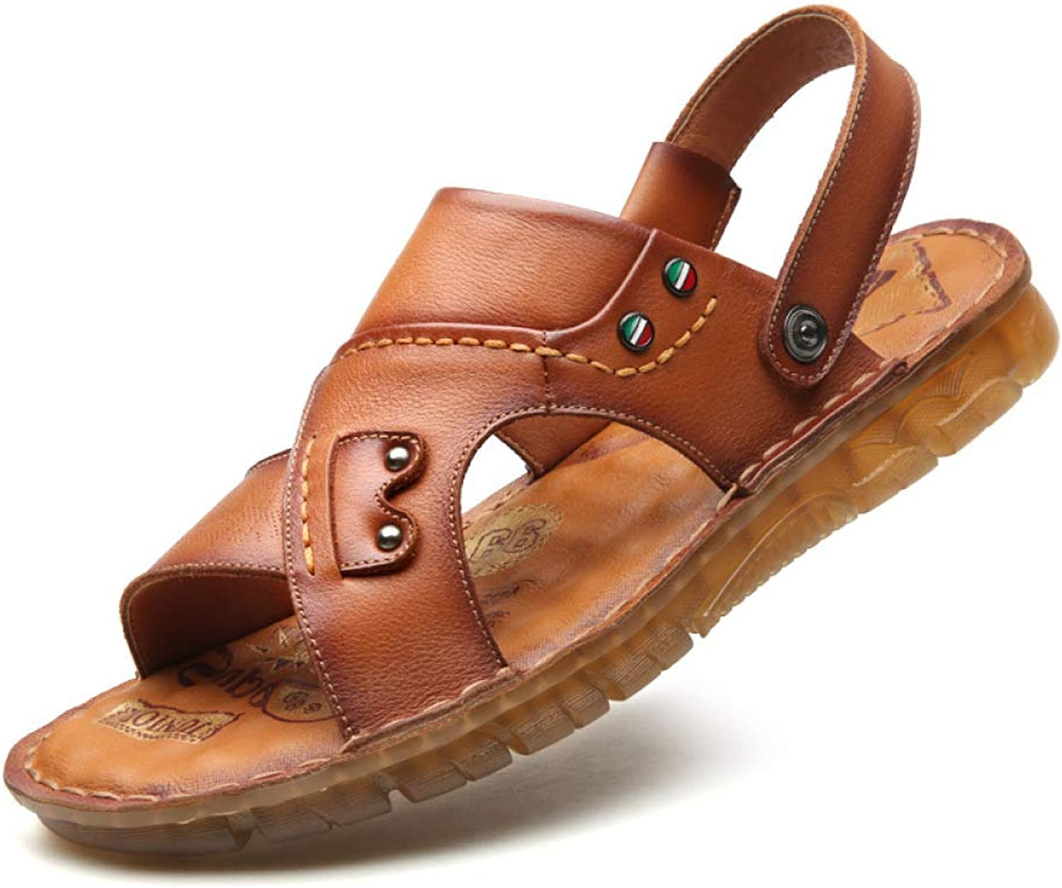 WJP Men's Sandals - Durable Summer Sandals, Casual Genuine Leather Beach shoes, Two Ways of Wearing A   42