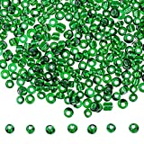 PandaHall Elite 4500 Pcs 6/0 4mm Glass Seed Beads Silver Lined Green Round Pony Bead Waist Beads Mini Spacer Beads for Earring Bracelet Necklace Jewelry DIY Craft Making, Hole 1.5mm