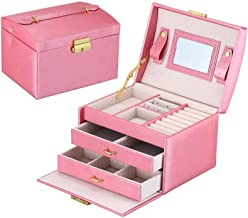 Jewellery Box, Earring Rings Leather Jewelry Case and Display Case 2 Layers with Mirror and Lock for Girls Women White (Co...