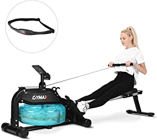 GOPLUS Water Rowing Machine, with Heart Rate Sensor, Indoor Rower with Adjustable Resistance Water Wheel and LCD Monitor, Full Body Exercise for Home Use