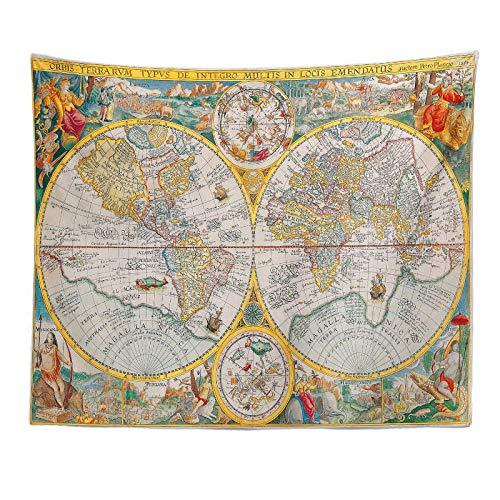 Wall Tapestry Tapices Decorativos Tapiz De Mapa del Mundo Retro De Europa Y América Apartamento Dormitorio Sala De Estar Decoración 230X180Cm