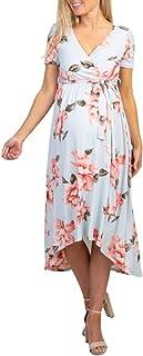 Vestido Largo de Maternidad con Cuello en v y Manga Corta con Flores para Mujeres Embarazadas