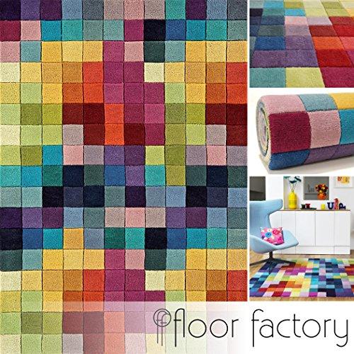 floor factory Moderner Designer Wollteppich Festival Multicolor 120x170cm - Reine Wolle in Leuchtend bunten Farben